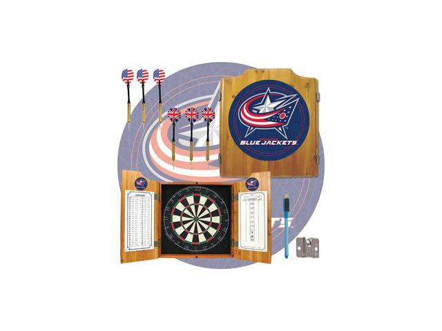 NHL Columbus Blue Jackets Dart Cabinet includes Darts and Board
