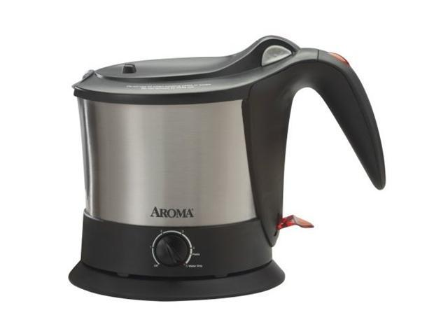 AROMA AWK-160SB Stainless Steel/Black Pasta Plus Noodle Cooker & Cordless Water Kettle