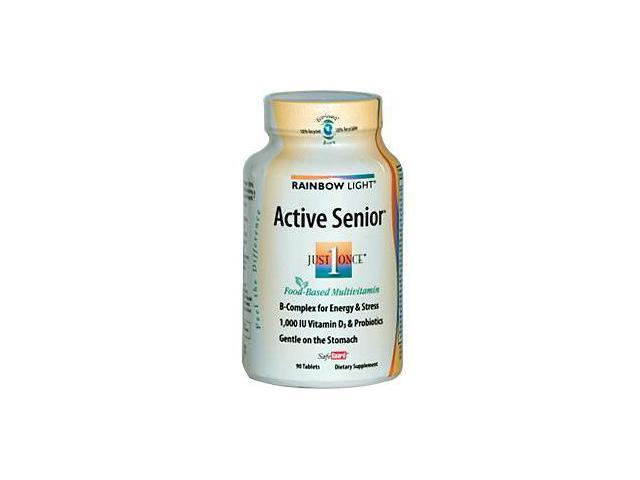 Rainbow Light, Just Once, Active Senior, Food-Based Multivitamin, 90 Tablets