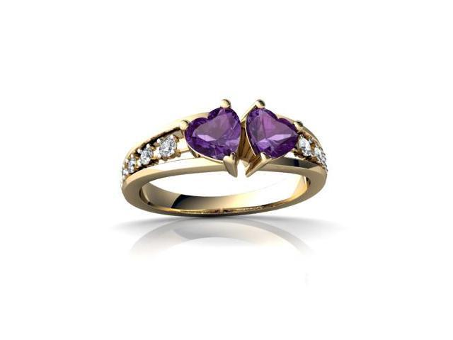 Amethyst Heart to Heart Ring 14K Yellow Gold Genuine Heart