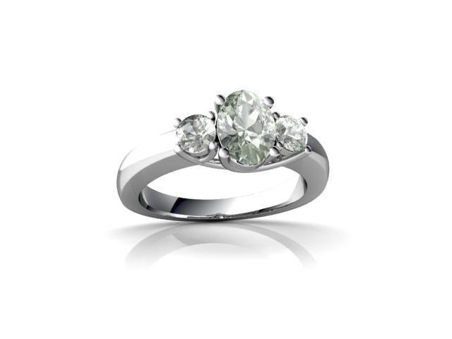 Green Amethyst Ring 14K White Gold Genuine Oval