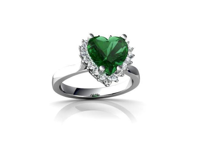Lab Emerald Ring 14K White Gold Lab Created Heart
