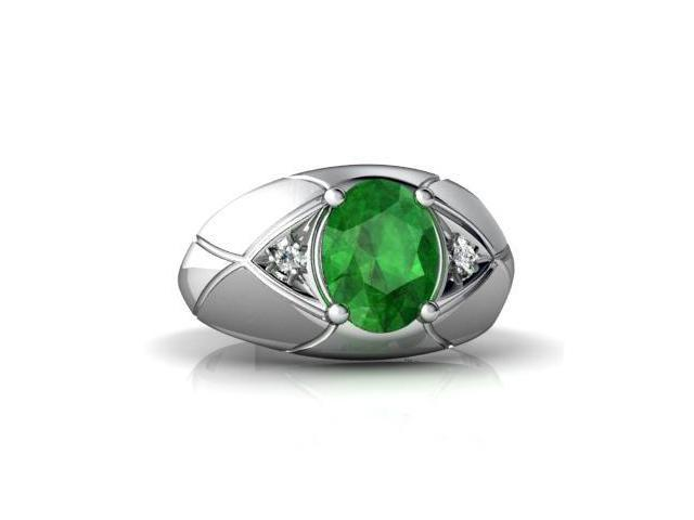 Emerald Men's  Men's Ring 14K White Gold Genuine Oval