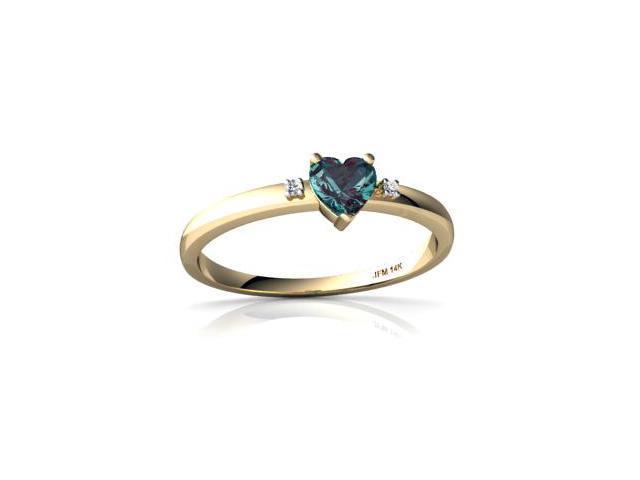 Alexandrite Ring 14K Yellow Gold Lab Created Heart