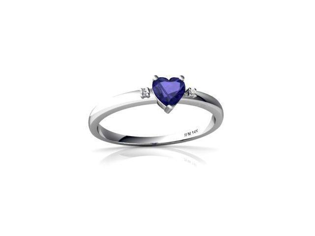 Lab Sapphire Ring 14K White Gold Lab Created Heart