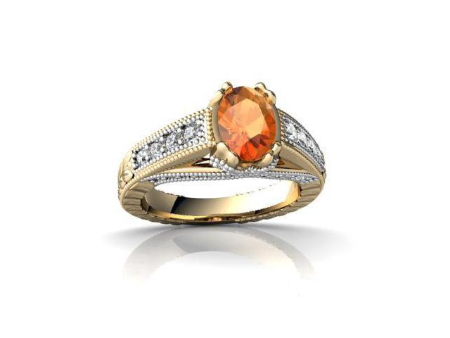 Fire Opal Antique Style Ring 14K Yellow Gold Genuine Oval