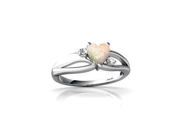 Opal Ring 14K White Gold Genuine Heart