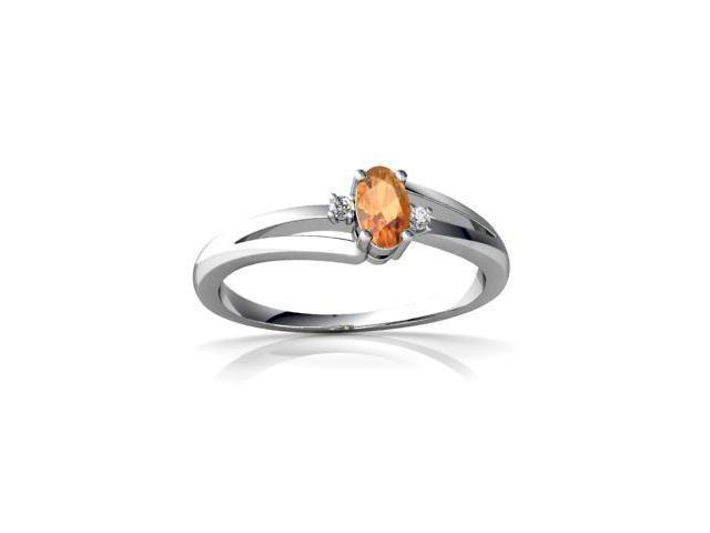 Fire Opal Ring 14K White Gold Genuine Oval