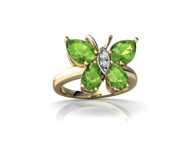 Peridot Butterfly Ring 14K Yellow Gold Genuine Pear