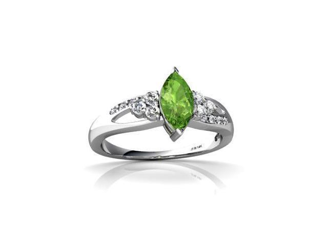 Peridot Antique Style Ring 14K White Gold Genuine Marquise