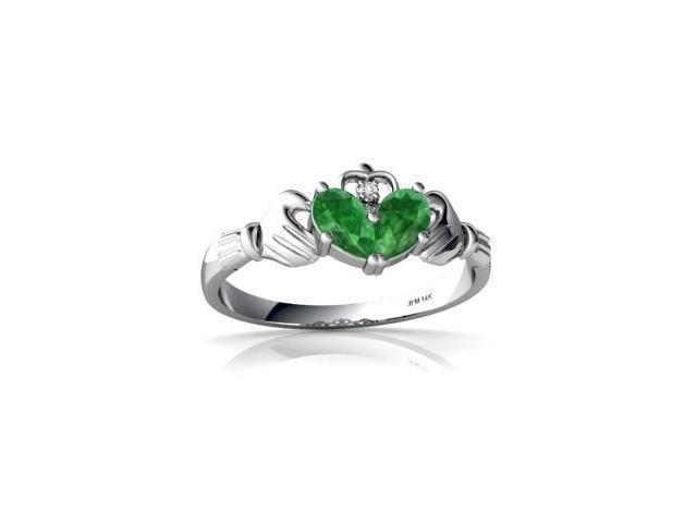 Emerald Celtic Claddagh Ring 14K White Gold Genuine Pear