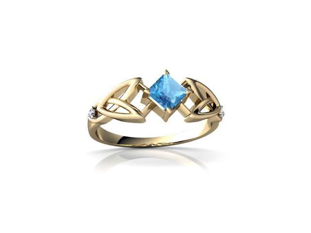 Blue Topaz Celtic Knot Ring 14K Yellow Gold Genuine Square