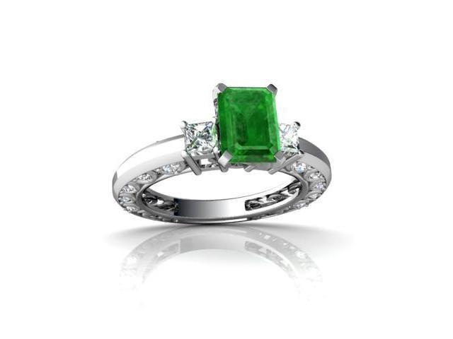 Emerald Engagement Ring 14K White Gold Genuine Emerald-cut
