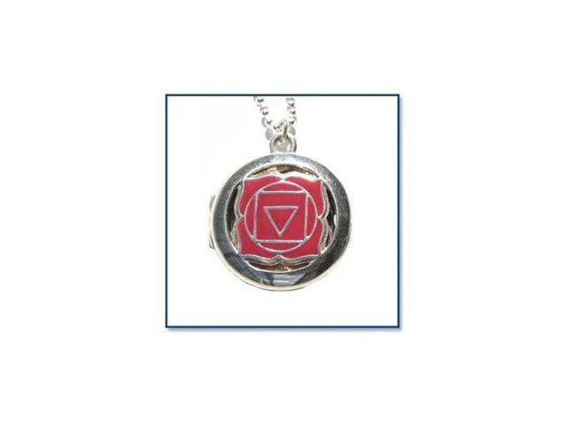 Chakra Aroma Locket, Root - Silver with Red