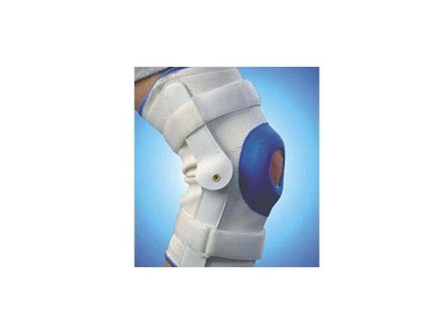 Deluxe Compression Knee Support With Hinge, Extra Large, White/Blue