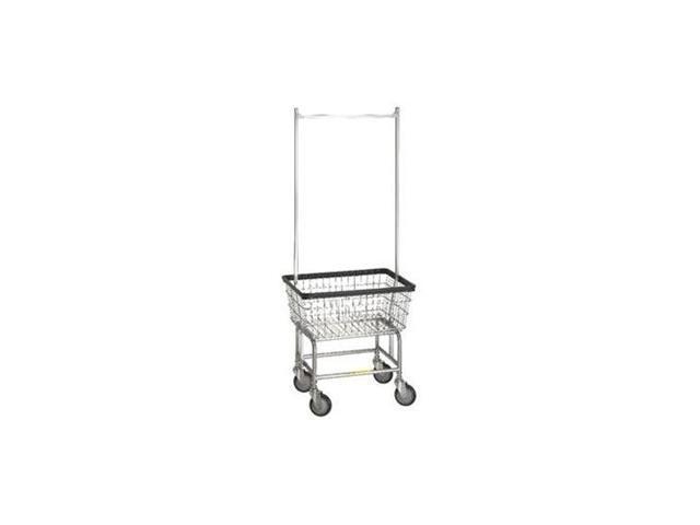 Standard Laundry Cart w/ Double Pole Rack, model 100E58, basket color: Chrome
