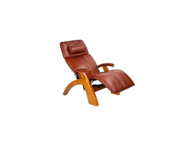 PC-075 Perfect Chair&#0174  Silhouette Zero-Gravity Recliner with Maple Base, Cognac Premium Leather
