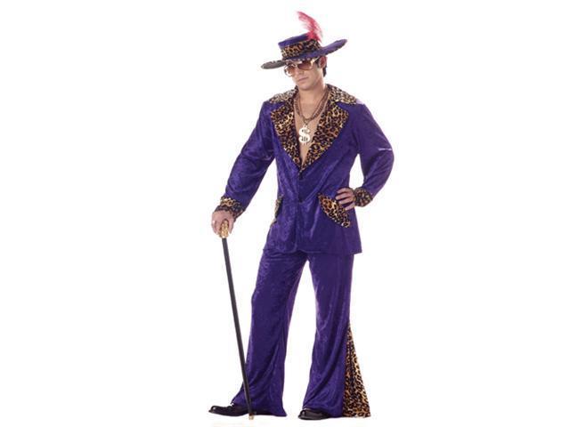Adult Mens Purple Pimp Cheetah Halloween Costume