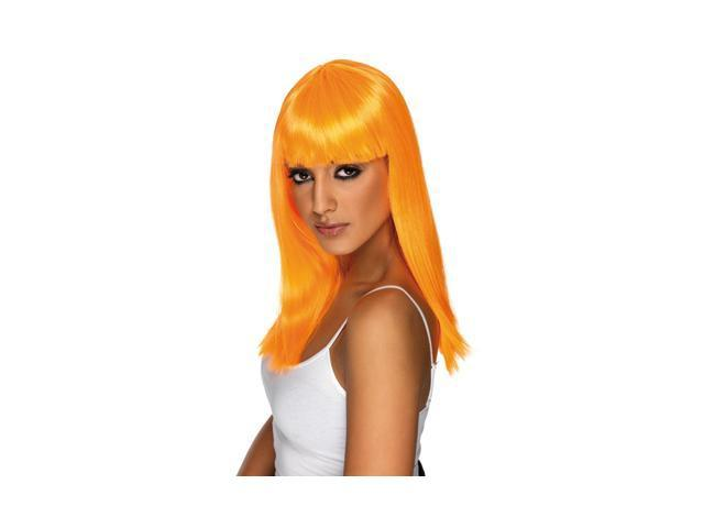 Neon Orange Glamour Wig - Bangs