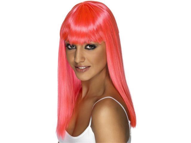 Neon Pink Glamour Wig - Bangs