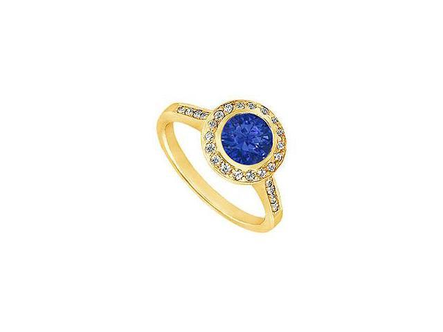 Sapphire and Diamond Engagement Ring 14K Yellow Gold 1.50 CT TGW