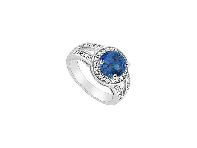 Created Sapphire and Cubic Zirconia Ring 10K White Gold 2.50 Carat Total Gem Weight