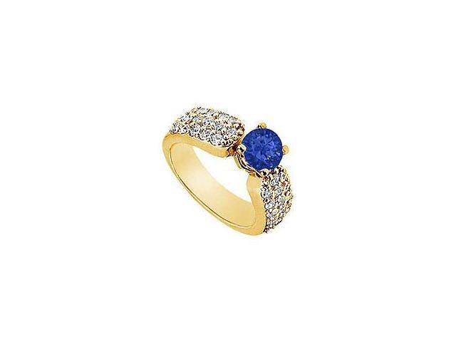 Sapphire and Diamond Engagement Ring 14K Yellow Gold 2.00 CT TGW