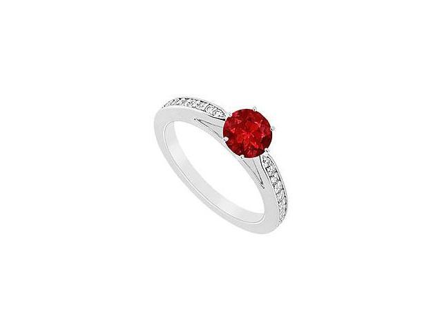 Ruby and Diamond Ring 14K White Gold 1.25 CT TGW