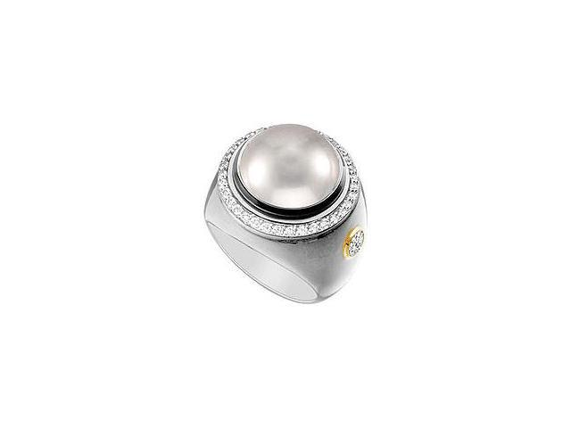 Cultured Silver Mabe Pearl and Diamond Ring 14K White Gold 0.50 CT Diamonds