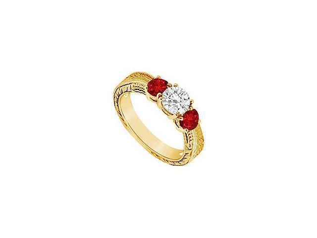 Three Stone Ruby and Diamond Ring 14K Yellow Gold 0.50 CT TGW