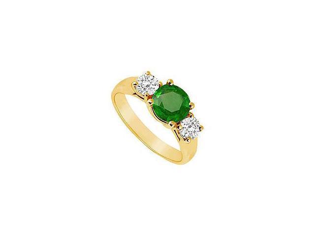 Three Stone Emerald and Diamond Ring 14K Yellow Gold 1.00 CT TGW