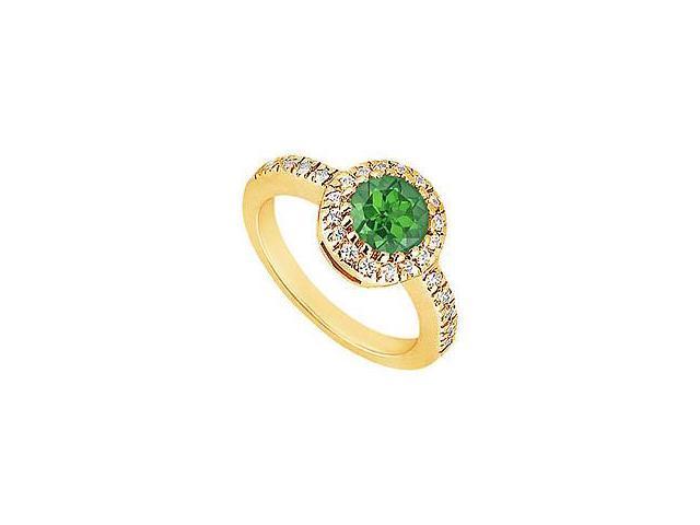Emerald and Diamond Engagement Ring 14K Yellow Gold 0.75 CT TGW