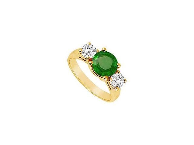 Three Stone Emerald and Diamond Ring 14K Yellow Gold 2.00 CT TGW