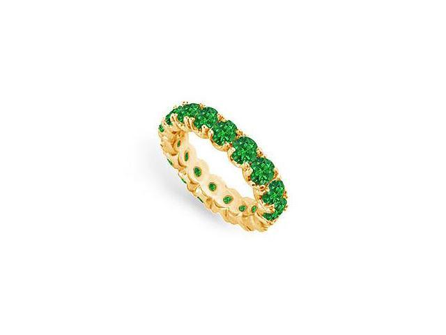 May Birthstone Emerald Eternity Band in 14K Yellow Gold 3 CT TGW Third Wedding Anniversary Gift