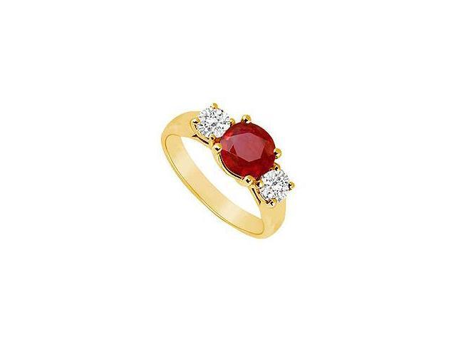 Three Stone Ruby and Diamond Ring 14K Yellow Gold 1.00 CT TGW