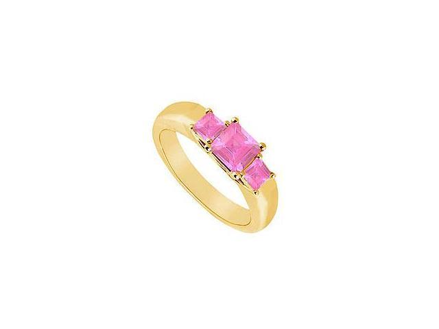 Three Stone Pink Sapphire Ring 14K Yellow Gold 0.33 CT TGW