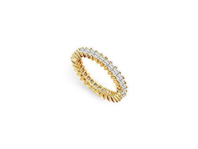 One and Half Carat Diamond Eternity Band in 14K Yellow Gold First Wedding Anniversary Jewelry