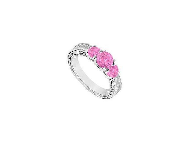 Pink Sapphire Three Stone Ring 14K White Gold 0.50 CT TGW