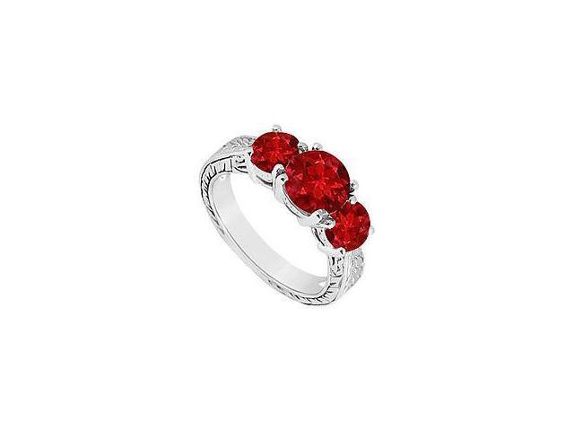 Ruby Three Stone Ring 14K White Gold 1.50 CT TGW