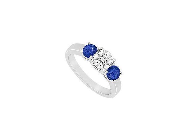 Three Stone Sapphire and Diamond Ring 14K White Gold 0.75 CT TGW