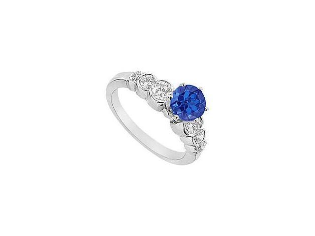 Sapphire and Diamond Engagement Ring 14K White Gold 1.75 CT TGW