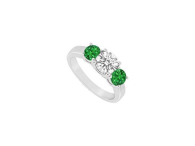 Three Stone Emerald and Diamond Ring 14K White Gold 1.25 CT TGW