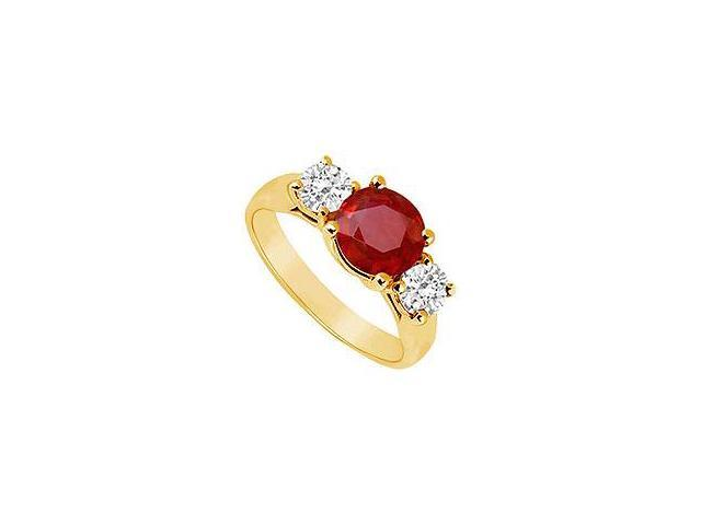 Three Stone Ruby and Diamond Ring 14K Yellow Gold 1.75 CT TGW
