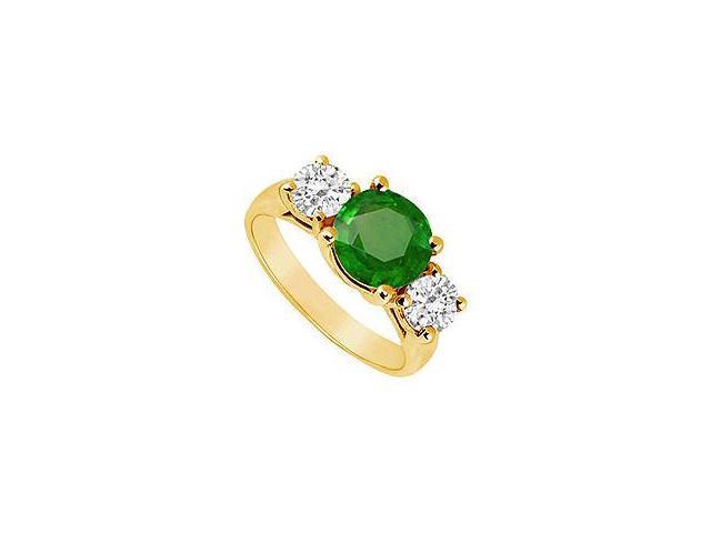 Three Stone Emerald and Diamond Ring 14K Yellow Gold 3.00 CT TGW