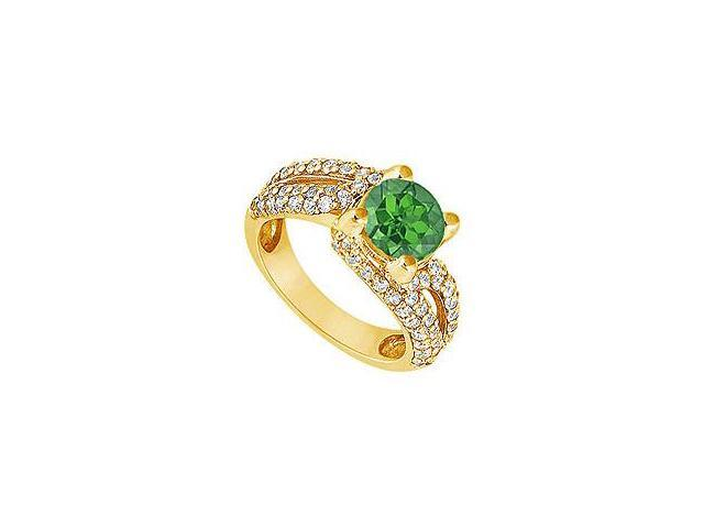 Emerald and Diamond Engagement Ring 14K Yellow Gold 1.00 CT TGW