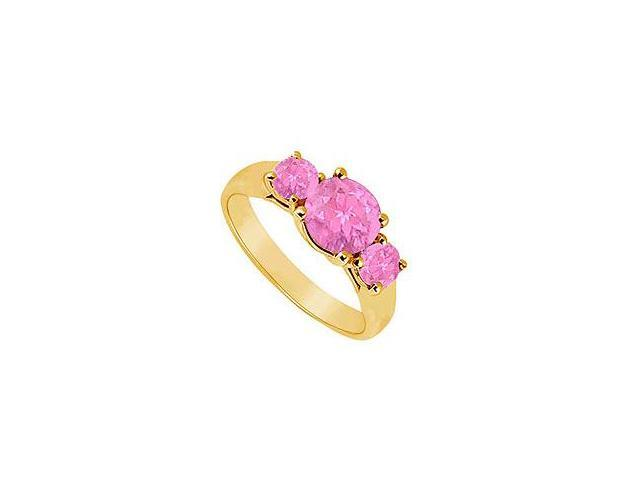 Three Stone Pink Sapphire Ring 14K Yellow Gold 0.75 CT TGW