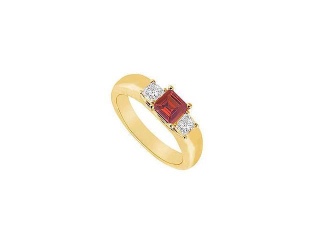 Three Stone Ruby and Diamond Ring 14K Yellow Gold 0.25 CT TGW