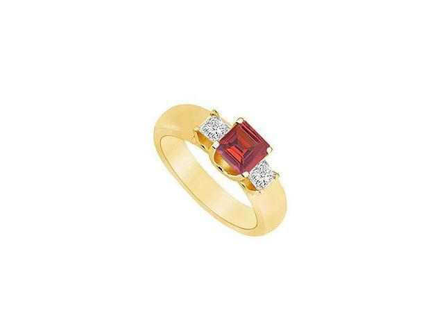 Three Stone Ruby and Diamond Ring 14K Yellow Gold 0.75 CT TGW
