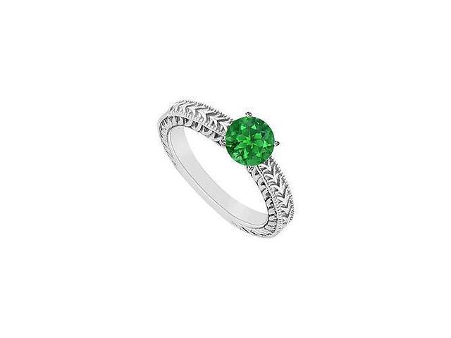 Emerald Ring 14K White Gold 0.50 CT TGW