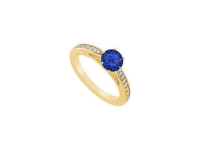 Sapphire and Diamond Ring 14K Yellow Gold 1.25 CT TGW